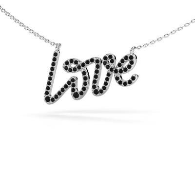 Foto van Hanger Love 585 witgoud zwarte diamant 0.428 crt