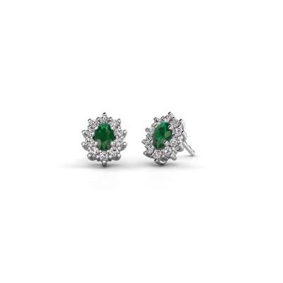 Picture of Earrings Leesa 950 platinum emerald 6x4 mm