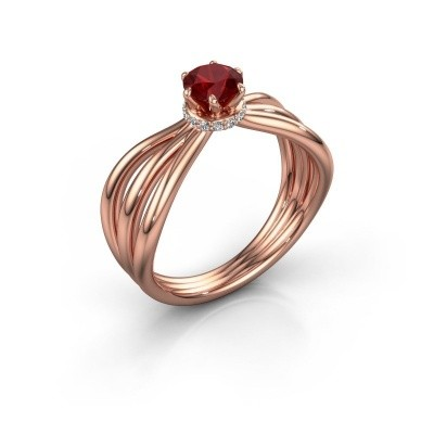 Verlovingsring Kimi 585 rosé goud robijn 5 mm