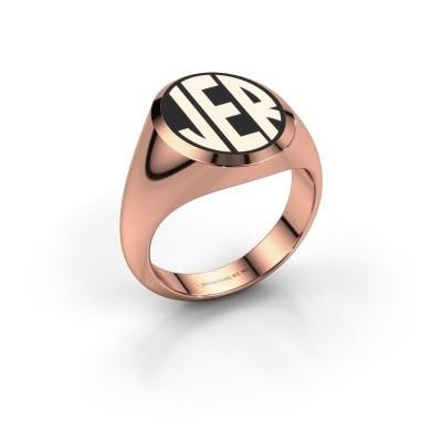 Foto van Monogram ring Paul emaille 585 rosé goud