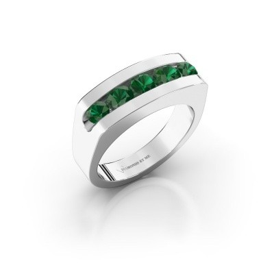 Foto van Heren ring Richard 950 platina smaragd 4 mm