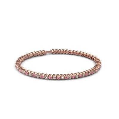 Foto van Tennisarmband Trix 750 rosé goud roze saffier 2 mm