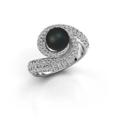 Foto van Ring Klasina 950 platina zwarte parel 7 mm
