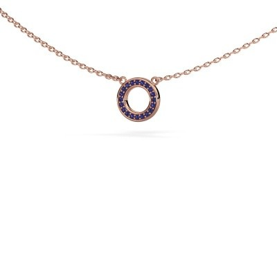 Picture of Pendant Round 2 375 rose gold sapphire 0.8 mm