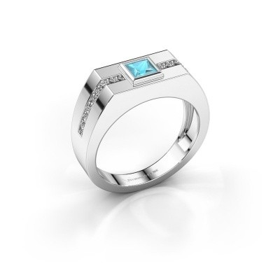 Foto van Heren ring Robertus 2 950 platina blauw topaas 4 mm
