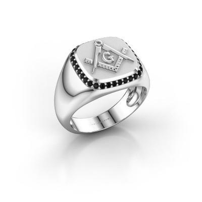 Foto van Heren ring Johan 375 witgoud zwarte diamant 0.306 crt