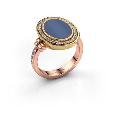 Foto van Heren ring Servie 585 rosé goud blauw lagensteen 14x10 mm