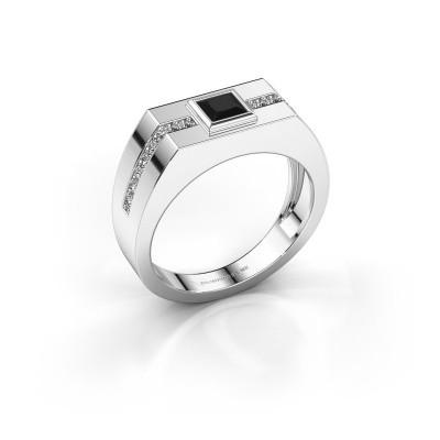Heren ring Robertus 2 585 witgoud zwarte diamant 0.672 crt