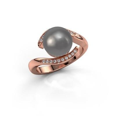 Foto van Ring Dedra 375 rosé goud grijze parel 9 mm