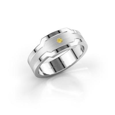 Foto van Heren ring Guido 950 platina gele saffier 2 mm