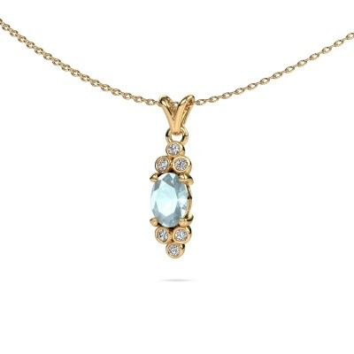 Picture of Pendant Lucy 2 375 gold aquamarine 7x5 mm