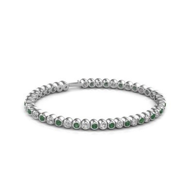 Foto van Tennisarmband Asley 585 witgoud smaragd 3 mm