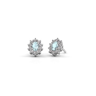 Picture of Earrings Leesa 585 white gold aquamarine 6x4 mm