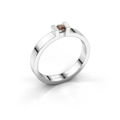 Foto van Verlovingsring Lieve 1 585 witgoud bruine diamant 0.10 crt