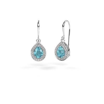 Picture of Drop earrings Beverlee 1 950 platinum blue topaz 7x5 mm