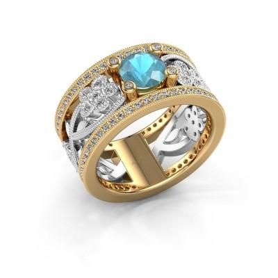 Foto van Ring Severine 585 goud blauw topaas 6 mm