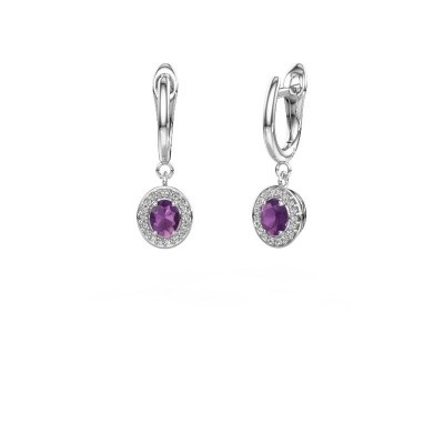 Picture of Drop earrings Nakita 585 white gold amethyst 5x4 mm