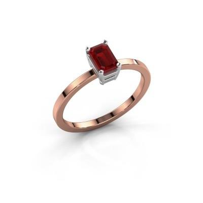 Foto van Verlovingsring Denita 1 585 rosé goud robijn 6x4 mm