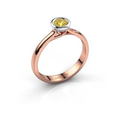 Foto van Verlovings ring Kaylee 585 rosé goud gele saffier 4 mm