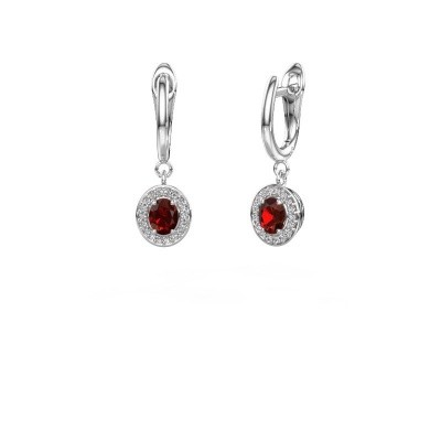 Picture of Drop earrings Nakita 585 white gold garnet 5x4 mm