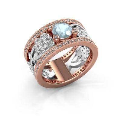 Foto van Ring Severine 585 rosé goud aquamarijn 6 mm