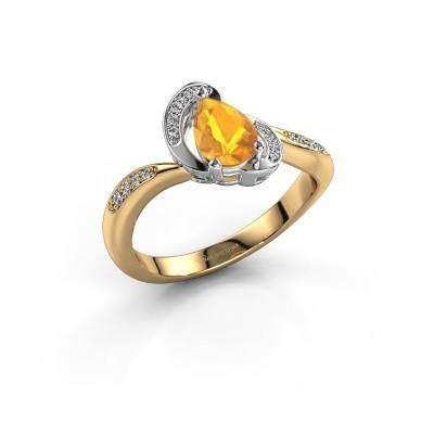 Foto van Ring Jonelle 585 goud citrien 7x5 mm
