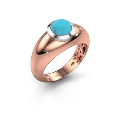 Foto van Ring Sharika 585 rosé goud blauw topaas 6 mm
