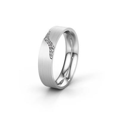 Trouwring WH2100L46BM 585 witgoud diamant ±6x2 mm