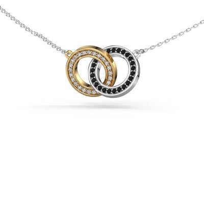 Picture of Necklace Circles 2 585 gold black diamond 0.275 crt
