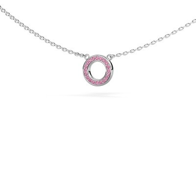Picture of Pendant Round 2 585 white gold pink sapphire 0.8 mm