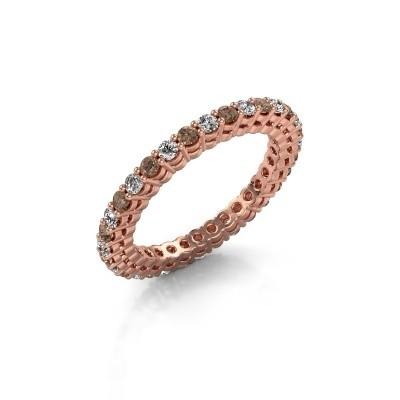 Foto van Aanschuifring Rufina 3 375 rosé goud bruine diamant 0.896 crt