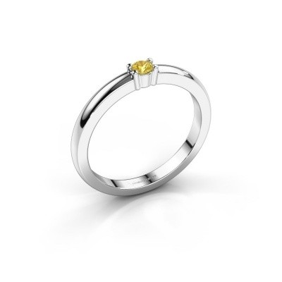 Foto van Promise ring Yasmin 1 585 witgoud gele saffier 2.7 mm