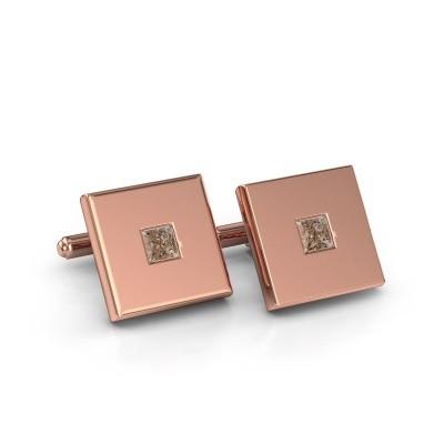 Foto van Manchetknopen Givanti 750 rosé goud bruine diamant 0.80 crt