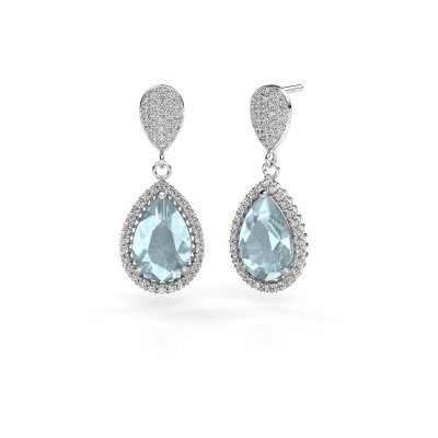Picture of Drop earrings Cheree 2 585 white gold aquamarine 12x8 mm
