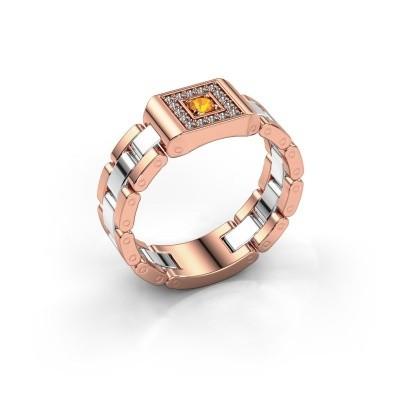 Foto van Rolex stijl ring Giel 585 rosé goud citrien 2.7 mm