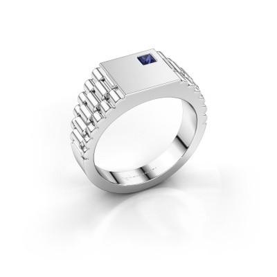 Foto van Rolex stijl ring Pelle 585 witgoud saffier 3 mm