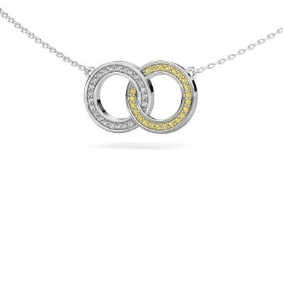 Picture of Necklace Circles 1 925 silver yellow sapphire 1 mm