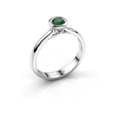 Foto van Verlovings ring Kaylee 585 witgoud smaragd 4 mm