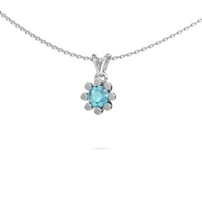 Picture of Pendant Carola 1 375 white gold blue topaz 5 mm