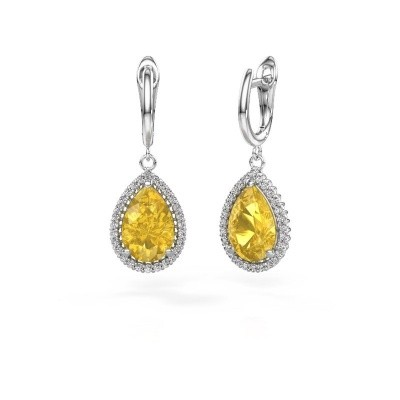 Picture of Drop earrings Hana 1 950 platinum yellow sapphire 12x8 mm