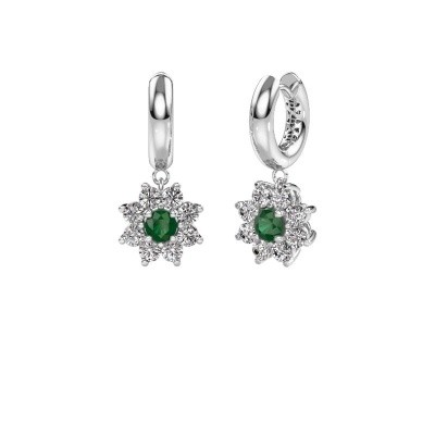 Picture of Drop earrings Geneva 1 585 white gold emerald 4.5 mm