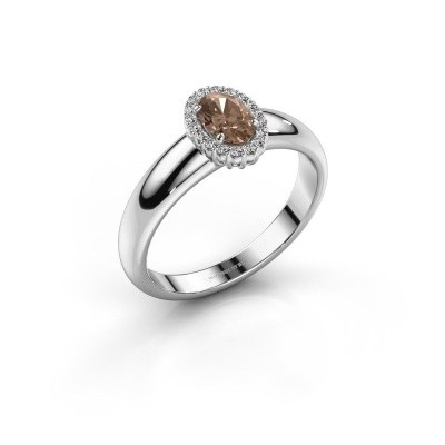 Engagement ring Tamie 925 silver brown diamond 0.59 crt