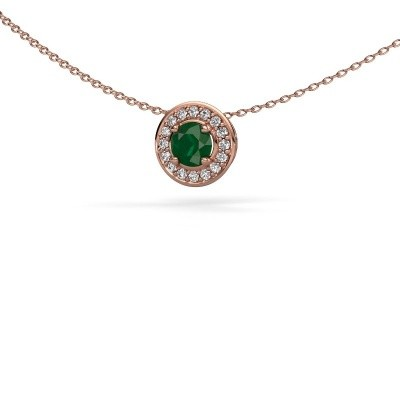 Picture of Pendant Agaat 375 rose gold emerald 5 mm