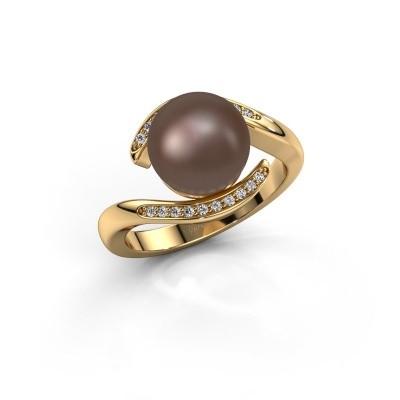Foto van Ring Dedra 375 goud bruine parel 9 mm
