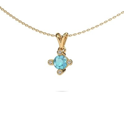 Picture of Pendant Cornelia Round 375 gold blue topaz 5.5 mm