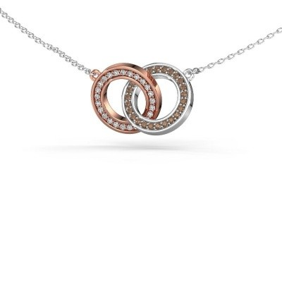 Picture of Necklace Circles 2 585 rose gold brown diamond 0.25 crt