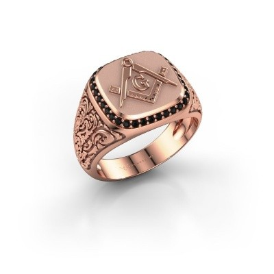 Foto van Herenring Hugo 585 rosé goud zwarte diamant 0.306 crt