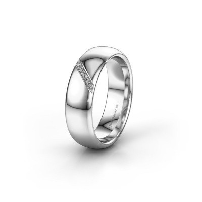 Trouwring WH0164L36B 375 witgoud diamant ±6x2 mm