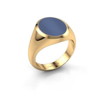 Foto van Zegelring Herman 4 585 goud blauw lagensteen 14x11 mm