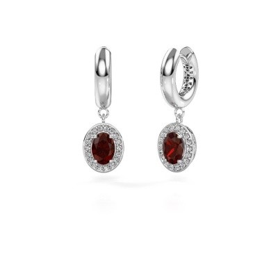 Picture of Drop earrings Annett 375 white gold garnet 7x5 mm